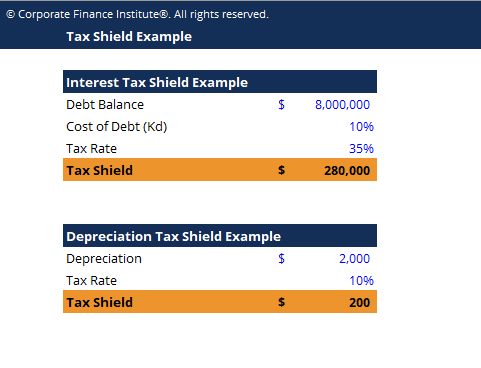 Tax Shield Example Template Screenshot