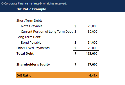 Debt Equity Ratio Template Screenshot
