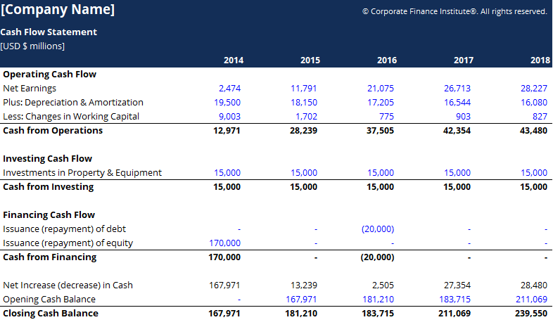 Cash Flow Statement Template Screenshot