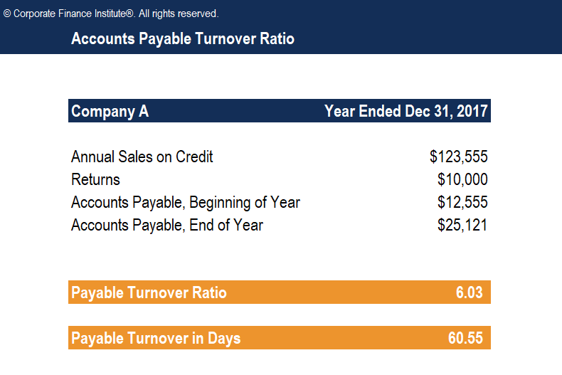 Accounts Payable Turnover Ratio Template Screenshot