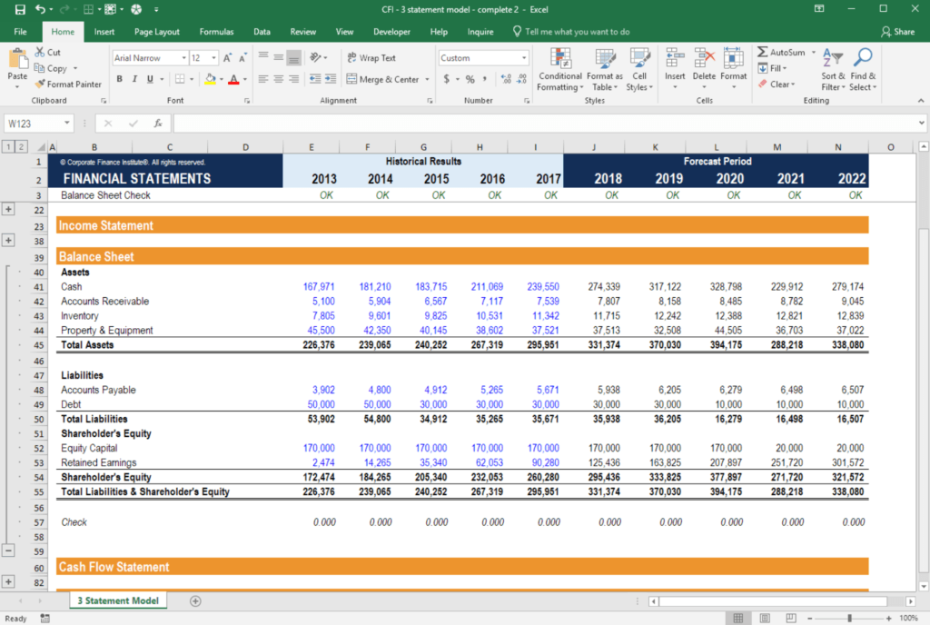 3 statement model income statement balance sheet cash flow for Financial modelling templates