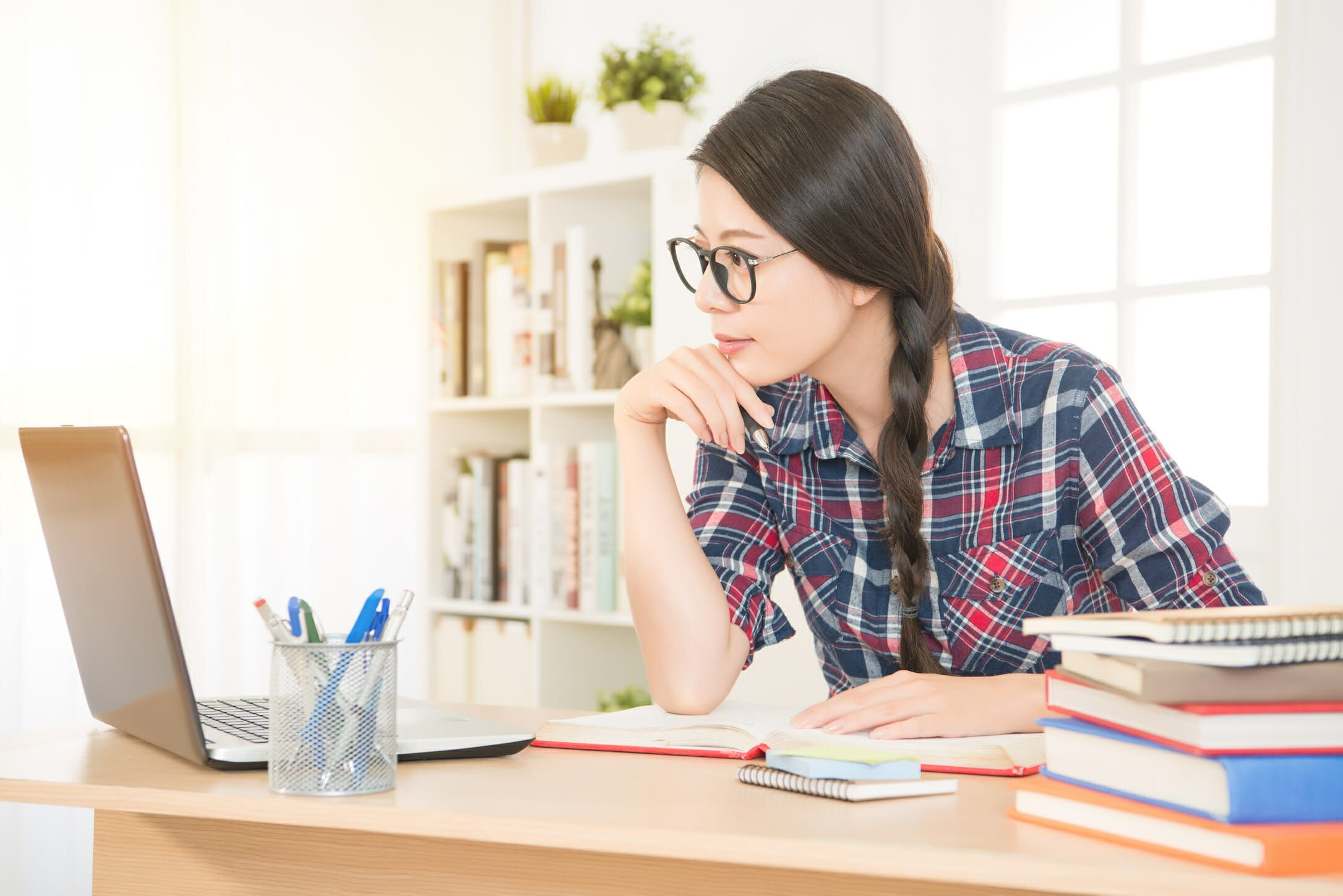 Online Learning - Woman Studying at home