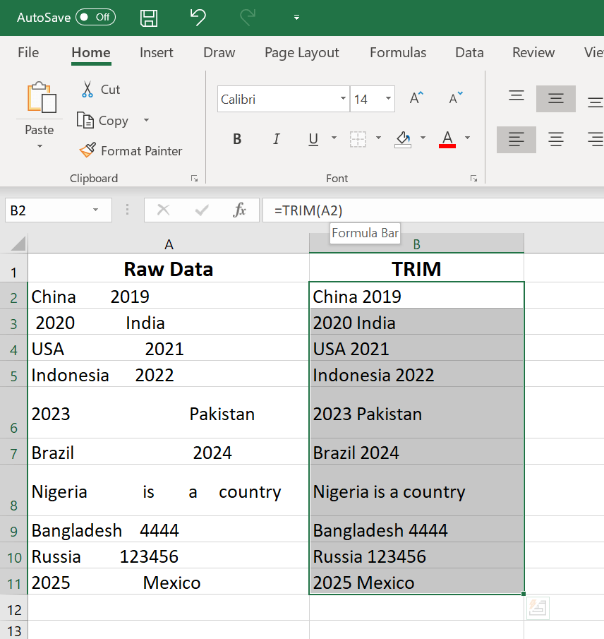Basic Excel Formulas for Beginners - TRIM function