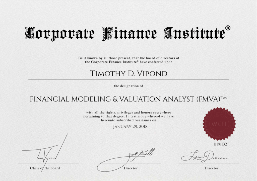 Financial Analyst Certification - Example Certificate