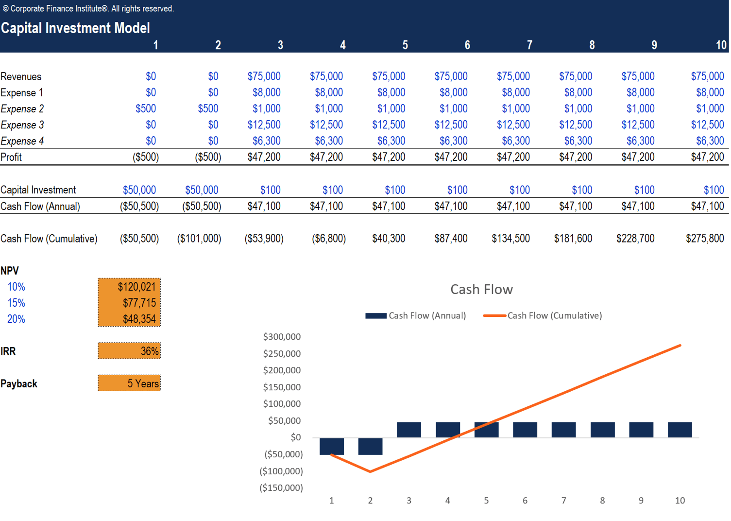 Capital Investment Model Screenshot