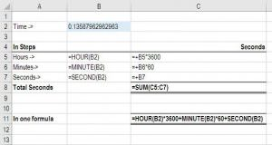 Excel Convert Time to Seconds formula