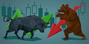 Illustration of directional trading strategies - silhouette of bull and bear with markets