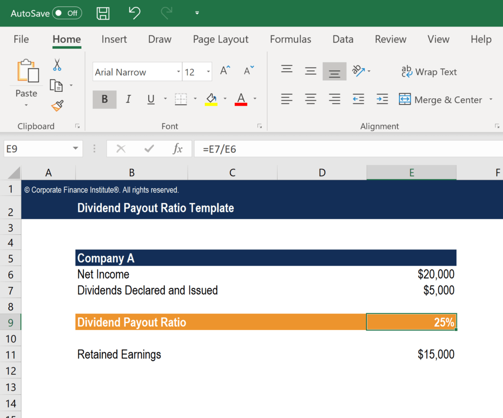 Dividend Payout Ratio Template Screenshot