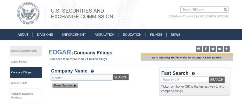 EDGAR company filings