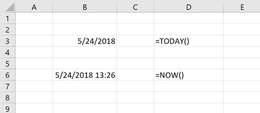 Excel Current Date and Time
