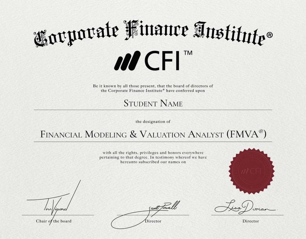 FMVA Financial Modeling Certification