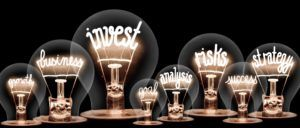Famous Fund Manager Illustration - Light bulbs with words