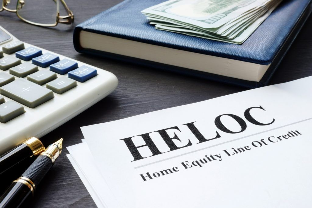 HELOC documents on table
