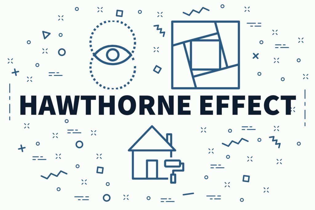 Hawthorne Effect - A Conceptual business illustration with the words hawthorne effect