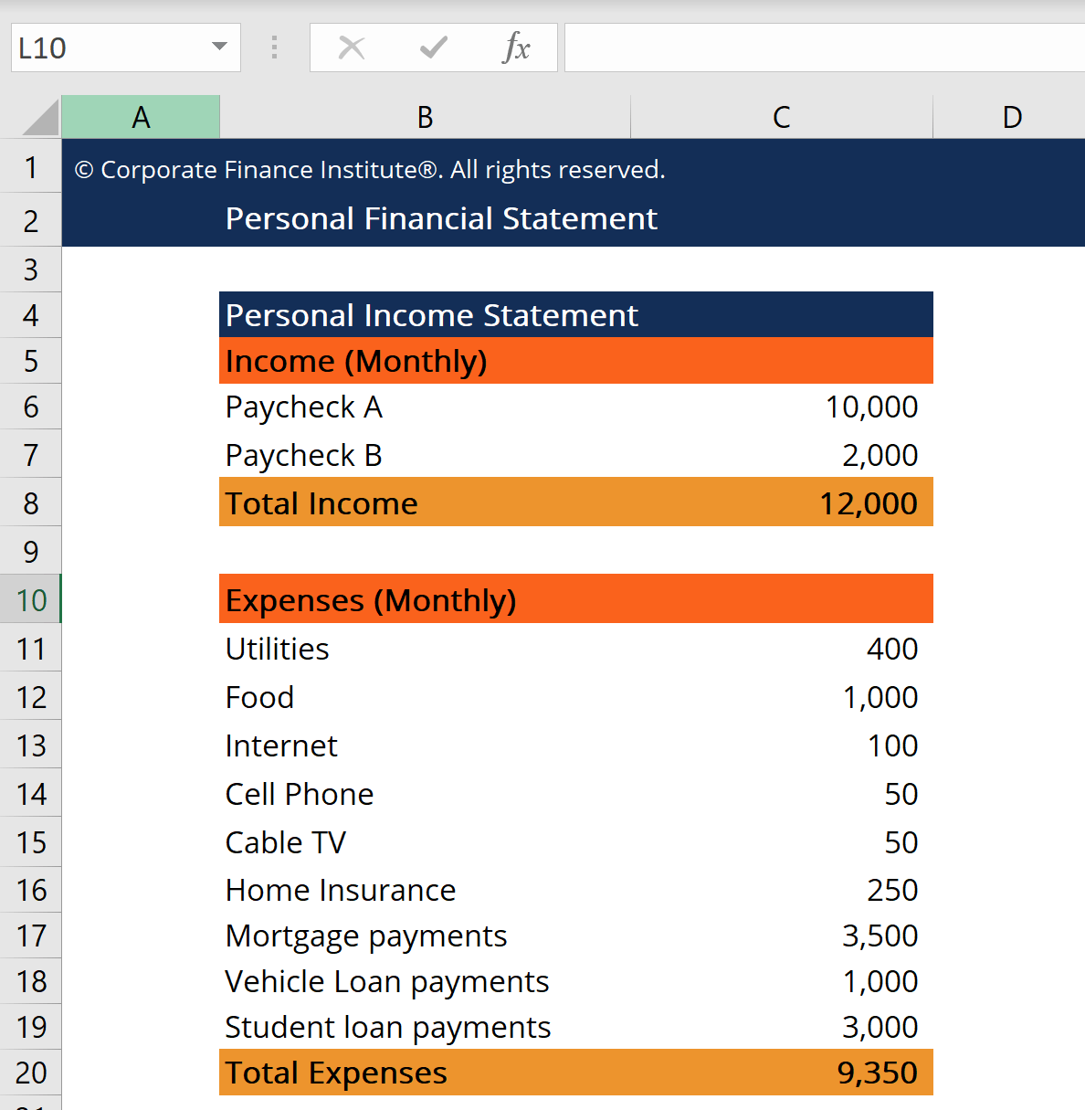 Personal Financial Statement   Know Your Financial Position Now