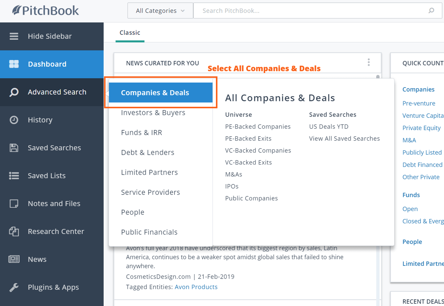 PitchBook advanced search all companies & deals