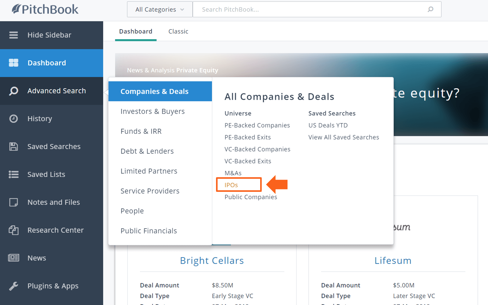 PitchBook advanced search ipo