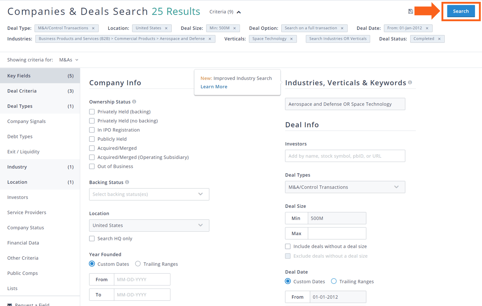 PitchBook companies and deals complete search