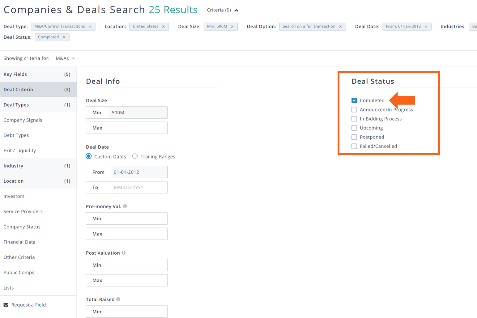PitchBook companies and deals deal criteria