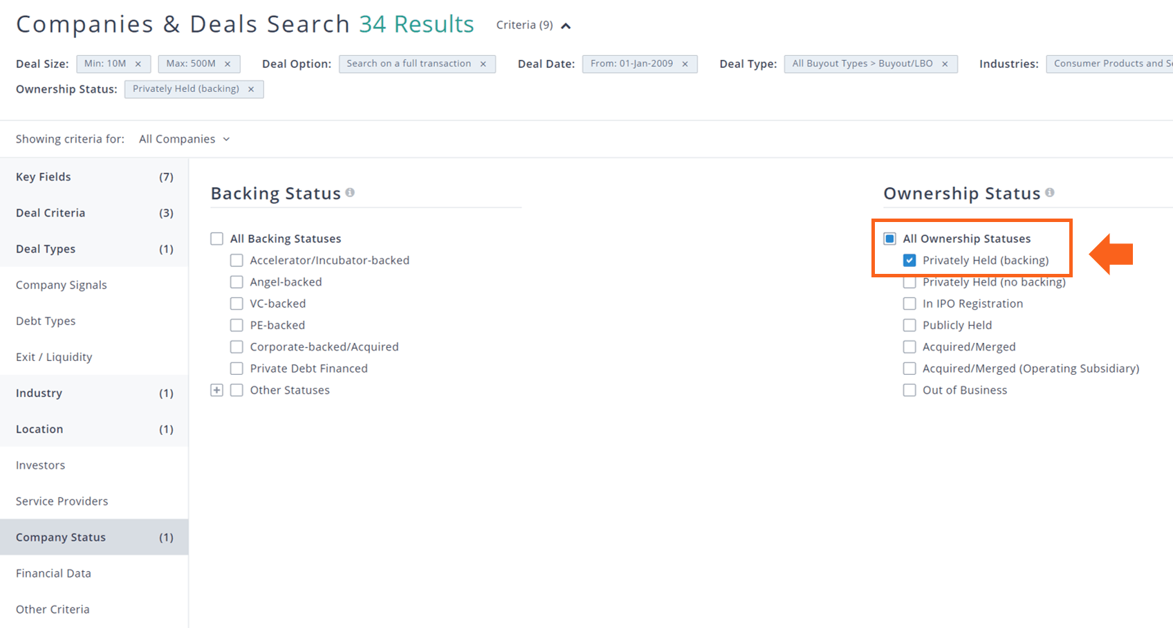 PitchBook companies & deals search company status