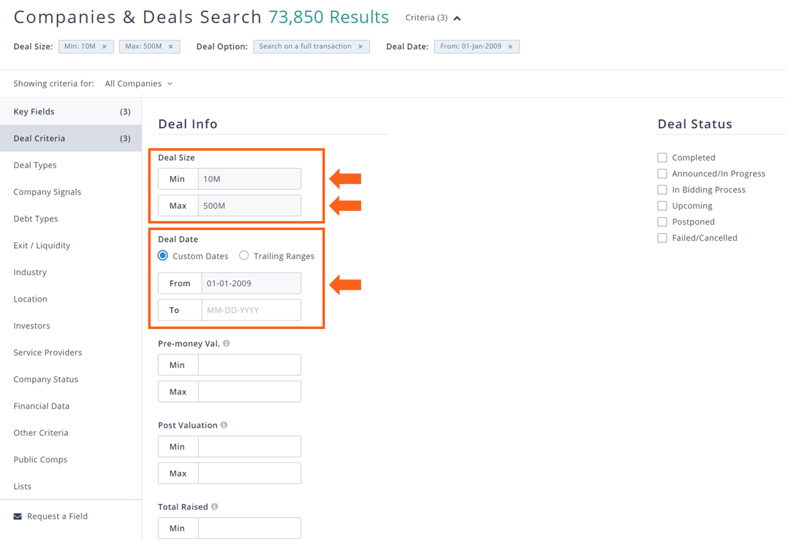 PitchBook companies & deals search deal criteria