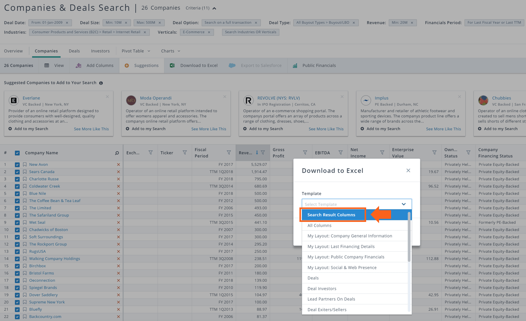 PitchBook dowload select search result columns
