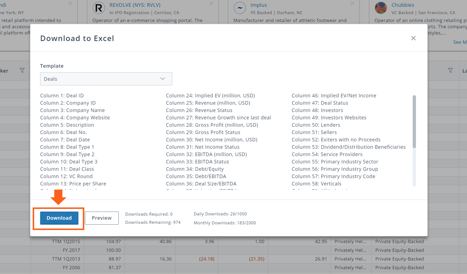 PitchBook download deals search results to excel