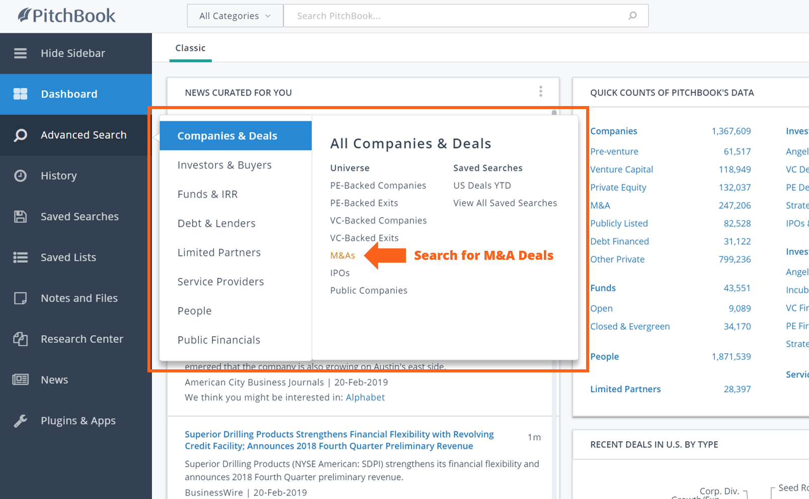 PitchBook search for m&a deals