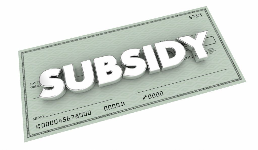 Subsidy - Image of a check with subsidy written on it