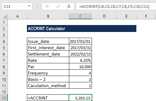 ACCRINT Function - Example 1