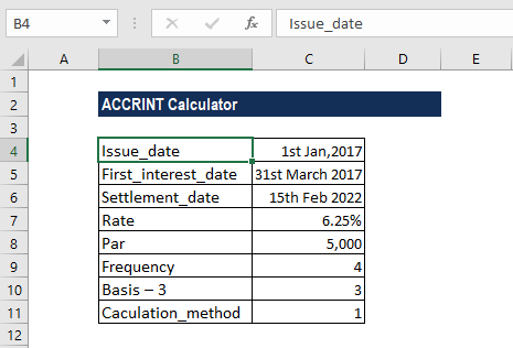 ACCRINT Function - Example 2