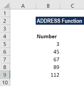 ADDRESS Function