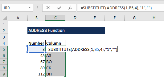 ADDRESS Function - Example 1