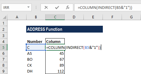 ADDRESS Function - Example 2a