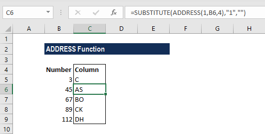 ADDRESS Function - Example 1a