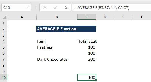 AVERAGEIF Function - Example 3