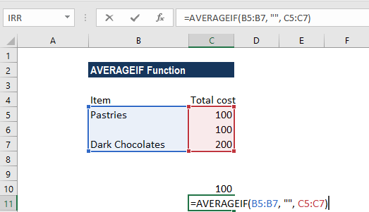 AVERAGEIF Function - Example 3c