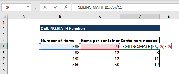CEILING.MATH Function - Example 2a