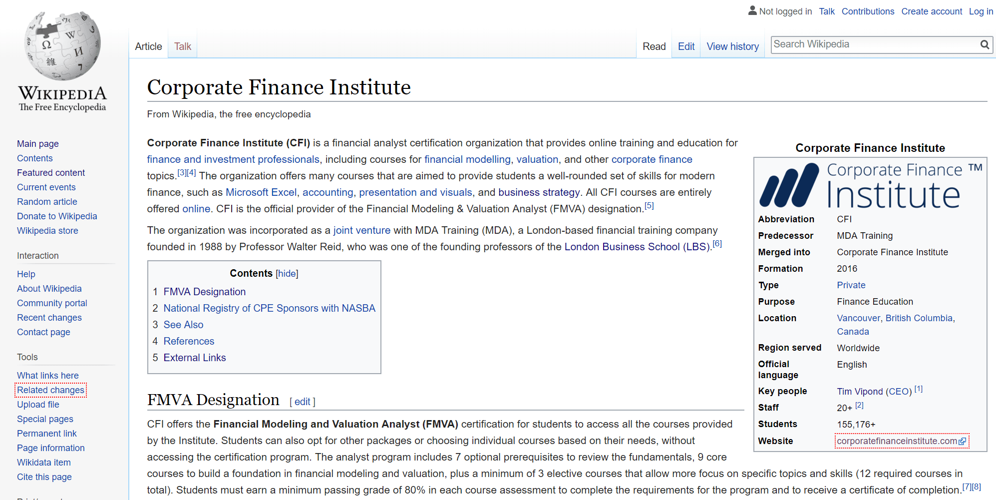 cfi corporate finance institute wikipedia