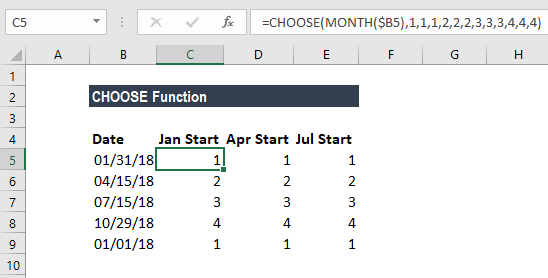 CHOOSE Function - Example 1a