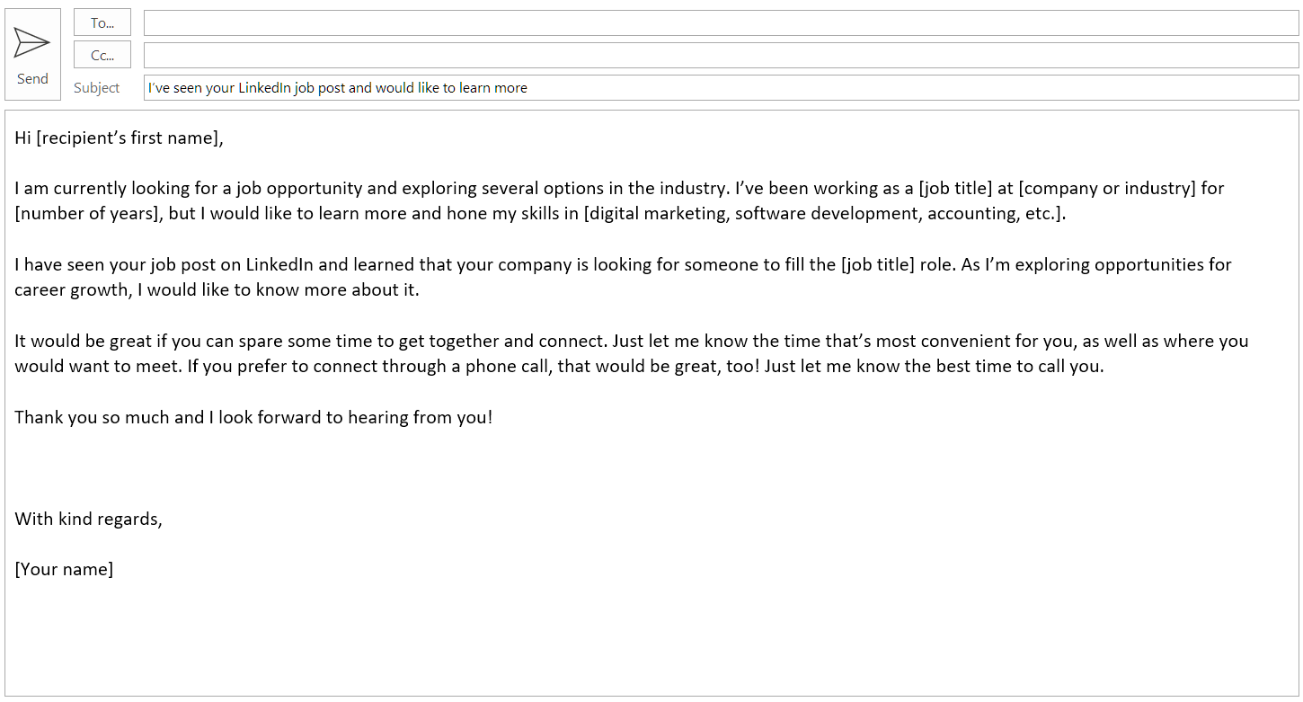 Cold Email Template For An Informational Interview