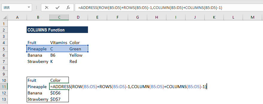 COLUMNS Function - Example 2