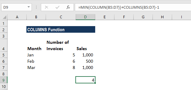 COLUMNS Function - Example 3b