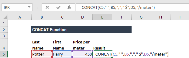 CONCAT Function - Example 3a