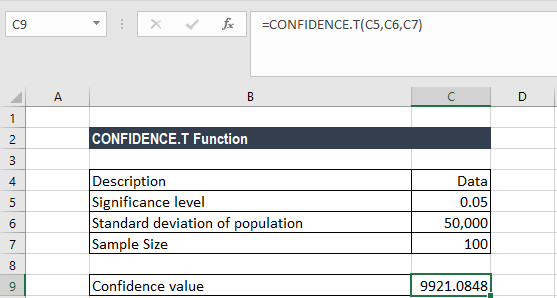 CONFIDENCE.T Function - Example