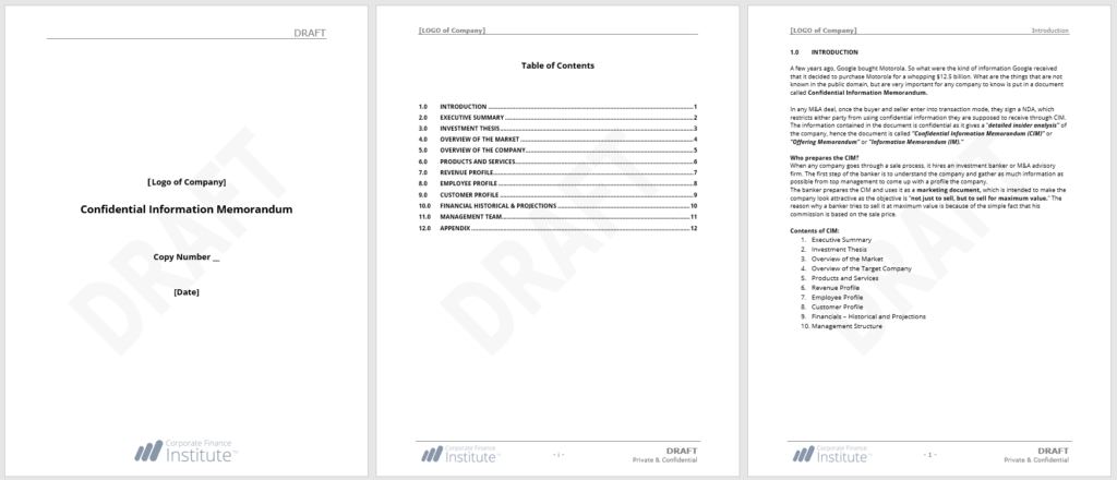 cim confidential information memorandum guide example template