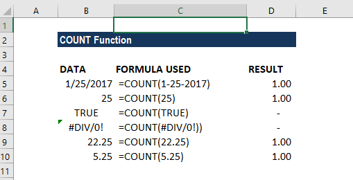 COUNT Function - Example 1
