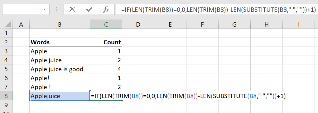 Formula How to Count Words in Excel