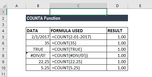 COUNTA Function - Example 1a