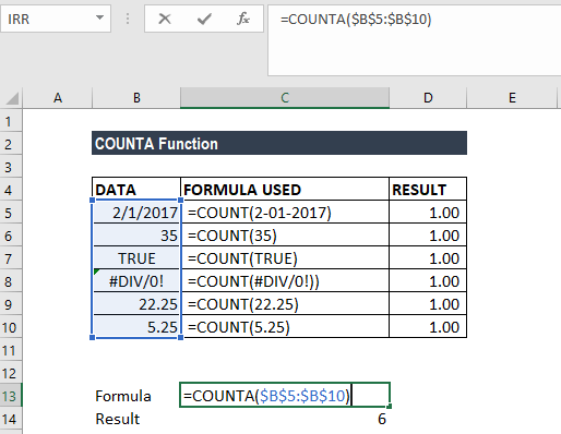COUNTA Function - Example 1b